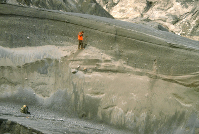 Example of layered ash deposits from 1990 eruption of Redout volcano in Alaska. Photograph from USGS