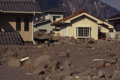 Lahar deposit from 1995 on southwest flank of Unzen volcano, Japan