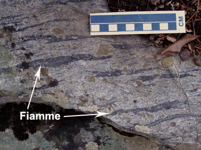 Outcrop of welded lithic tuff with flattened pumice clasts