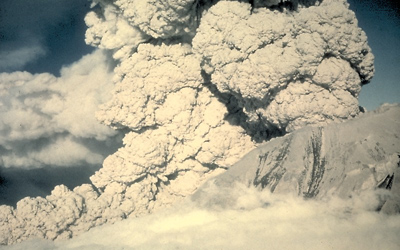 Example of modern day pyroclastic flow eruption from Mt. St Helens