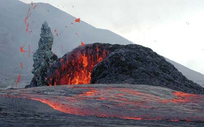 Example of basaltic lava erupting from a vent on Kilauea Volcano in Hawaii